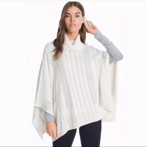 White House Ivory Knit Poncho Cowl Neck Lace Up